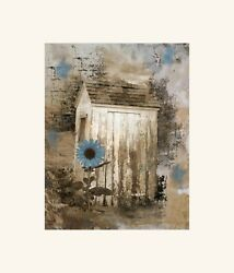 Rustic Brown Blue Vintage Outhouse Sunflower Farmhouse Bathroom Wall Art Picture
