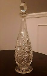 Vintage Cut Crystal Liquor Decanter 15 Tall With Golf Ball Stopper