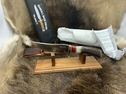 Randall Model 27 Trailblazer Knife With Stag Handles Leather Sheath Mint Paper A