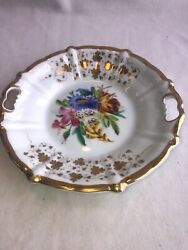 """Kpm Germany Porcelain Hand Painted Two Handle Plate - Floral Gilded 9.5"""" Look"""