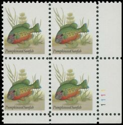 Sc 2481a Plate Block Xf-nh 45¢ Fish Black Engraved Omitted Error Garyposner