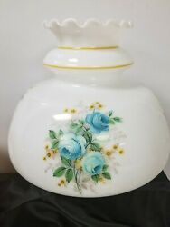 Nos Vintage Ruffle Top White W/ Teal Blue Flowers Gone With The Wind Lamp Shade