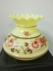 Nos Vintage Mid Century Floral Glass Fluted Ruffle Top Hurricane Lamp Shade 7