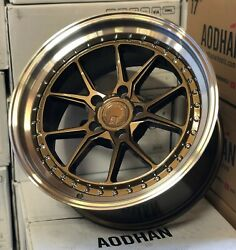 18x9.5 5x114.3 +15 Aodhan Ds08 Bronze Machined Lip 18 Inch Concave Wheels Set 4