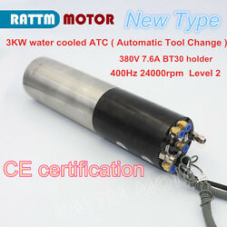 Automatic Tool Change 3kw 380v Water Cooling Atc Spindle Motor Bt30 Cnc Engraver