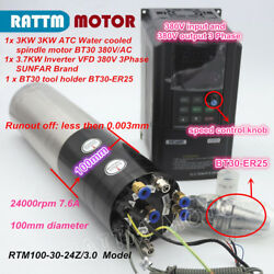 3kw Atc Bt30 Water Coolin Spindle Motor Kit And 3.7kw Vfd 380v For Cnc Router