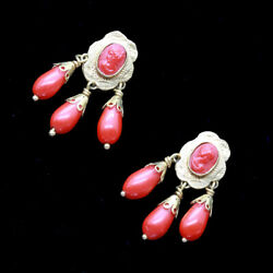 Antique Victorian Earrings 18k Gold Tiny Coral Cameos French Girandole 6547