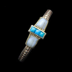 Wiese Antique Ring 18k Gold Turquoise French Victorian Sentimental Signed 6569