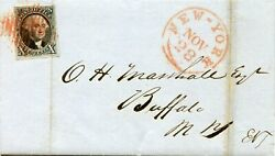 2 Cover Xf W/ Red Grid Cancel On Folded Letter Nyc-buffalo Dfp 4/16/20