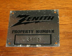 Antique Zenith Console Radio Television Property Number Plate - New Old Stock