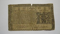 1774 2/3 Annapolis Maryland Md Colonial Currency Bank Note Bill Rare Issue Usa