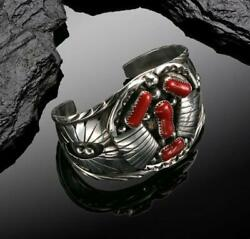 Native American Navajo Handcrafted Red Coral Sterling Silver Cuff Bracelet