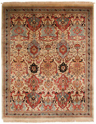 Rra 8x10 7'9x9'8 Indian Agra Design Beige And Navy Blue Rug 38314