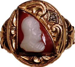 14k Gold Menand039s Victorian Signet Ring