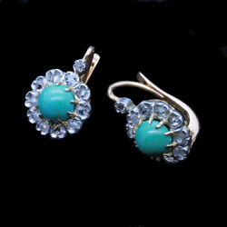Antique Victorian Earrings 18k Gold Turquoise Diamonds Silver French Small 6637