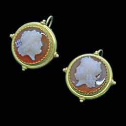 Antique Victorian Earrings Hardstone Cameo 18k Gold Classic Greek Revival 6656