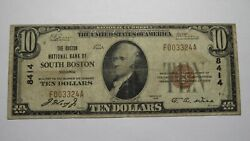 $10 1929 South Boston Virginia VA National Currency Bank Note Bill Ch #8414 FINE