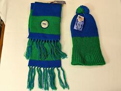 Rare Vintage 1970s Nfl New W/tag Scarf And Stocking Cap Seattle Seahawks Patch Hat