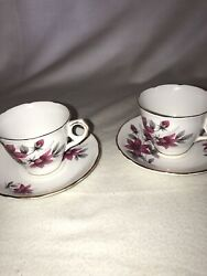 3 Royal Kent Bone China Tea Cup And Saucer Dogwood Made In Staffordshire England