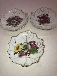 3 Lefton China Hand-painted Nut Candy Trinket Dish Leaf Shape With Flowers Gold
