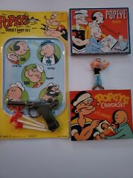 Vintage Popeye Crayon And Paint Tins Unopened Dart Set And Small Figurine