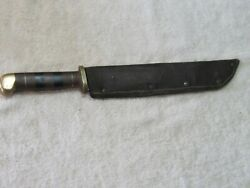 Vtg Large Wwii Usa Theater Made Fighting Bowie Knife Sheath Trench Art Brass Old