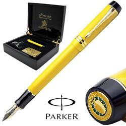 Parker Duofold Fountain Pen Cloisonne Yellow 18k Gold Med Pt New In Box