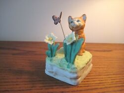 Mann Music Box Cat And Flowers Moving Butterfly Plays Memory