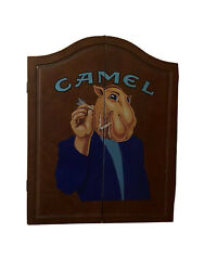 Vintage Joe Camel Dart Board In Wood Cabinet With Dart Sets Camel Cigarettes