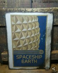 11 Epcot Spaceship Earth Wood Sign Pop Art Wood Vtg Style Sign