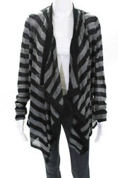 Helmut Lang Womens Striped Open Front Blouse Gray Black Wool Size Large