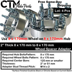 4p 2 Thick 8x170mm To 8x170mm Wheel Spacer Adapter Fit Ford F250/f350 Excursion