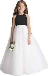 Flower Girl A-Line Tulle Bridesmaid Dress For Wedding Party BlackWhite