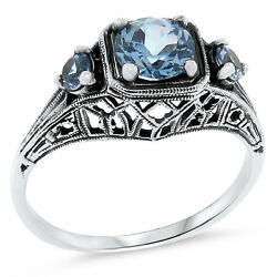 3 Stone Antique Style .925 Sterling Silver Sim Aquamarine Ring Size 8  131
