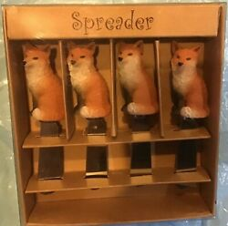Set Of Four Resin Fox Cheese Spreaders