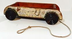Antique Gong Bell Mfg Wood Revolving Chimes Wagon Pull Toy With Farm Animals