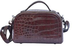 Ladies Perfect Design Crater Brown Precise Crocodile Belly Leather New Hand Bag $599.99