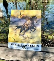 Smith And Wesson Hostiles Vintage Metal Tin Sign Wall Decor Garage Man Cave Home