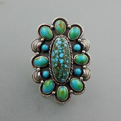 Handcrafted Sterling Silver Sonoran Gold Turquoise Southwestern Floral Ring