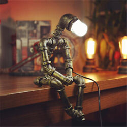 Industrial Robot Steampunk Water Pipe Desk Table Lamp Retro Light For Bedroom