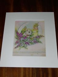 ANTIQUE WEST HIGHLAND WHITE TERRIER WESTIE DOG PAINTING 1938 SIGNED