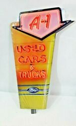 18 Ford Sign Neon Style Sign In Steel Metal Jubilee Mustang Truck Garage Decor+