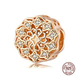 925 Sterling Silver Pandora Flower Round Charms Rose Gold Beads Charms Bracelets