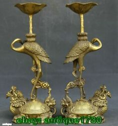 Antique Statue Pair Of Oriental Carved Copper Candle Stick-crane Turtle Statues