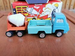 Vintage Ussr Tin Toy Car Truck Mixer With Trailer 1980s