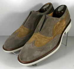 24np5112010 Spi60 Menand039s Shoes Size 9 M Gray Suede Made In Italy Johnston Murphy