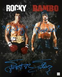 Sylvester Stallone Rocky Rambo Inscription Autographed 16x20 Photo Asi Proof