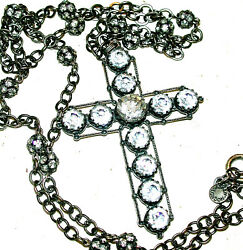 Askew London Large 3 Crystal Cross 34 Chain W Crystal Ball Stations Necklace