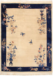Rra 9x12 Chinese Peking Vase Design Butterflies Ivory And Blue Rug 28635