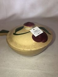 """Watt Pottery """"apple"""" 5"""" Individual Casserole Dish With Lid Vintage Oven Ware"""